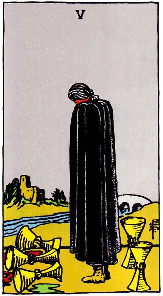 таро Райдера-Уэйта, 5 кубков