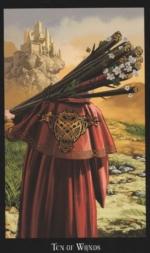 Колода Таро Ведьм, 10 жезлов