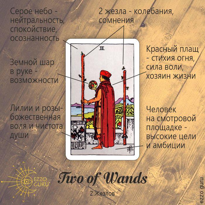 Значение карты Таро 2 Жезлов